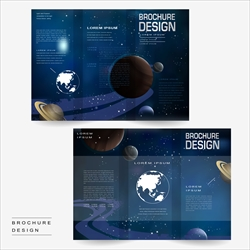 Modern tri-fold brochure template design with universe scenery