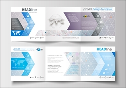 Set of business templates for tri-fold brochures. Square design. Leaflet cover, abstract flat layout, easy editable blank. Molecule structure on blue background. Science healthcare background, medical vector.