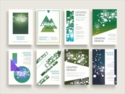 gorgeous brochure template design set with sparkling blurred background and geometric elements